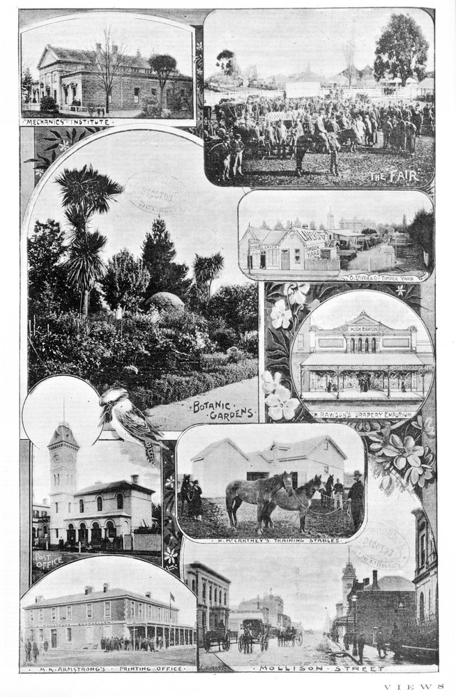 Depicts 9 photomechanical images in halftone of view of Kyneton, including: the Mechanics' Institute, the Fair, the Botanic Gardens, the Timber Yard, Rawson's Drapery Emporium, the Post Office, McMarthey's Training Stables, the Printing Office, and Mollison Street.